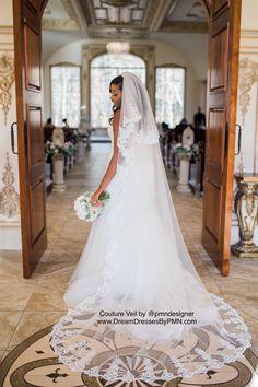 Two-Layer Lace Cathedral Wedding Veil (#PB201)