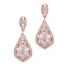 Mariell Sophisticated Rose Gold Art Deco CZ Clip-On Wedding Earrings  4237EC-RG