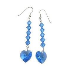 ERC403 These fabulous Genuine Swarovski Lite Sapphire Crystals Heart with Bicone Crystals beads accened in beautiful Romantic Earring with Sterling 92.5 Silver Hook Earrings ABsolultely NEW! very gorgeous piece. These HOT En-Vogue Earrings are a must have for todays fashion accessory. Pierced earrings are a great look for both day & night!!. Material Used : Genuine Swarovski 11mm Lite Sapphire Heart with 4mm Bicone Crystals accented Sterling Silver 925 hookEarrings Length : 1 3/4 inches…