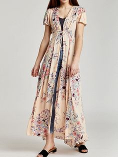 6438aa35b42 Pink V-neck Floral Print Waist Split Maxi Dress Latest Fashion For Women