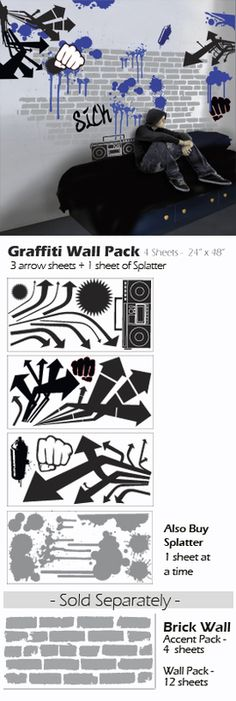 Graffiti Street Style wall decal stickers - great for urban look for teen boys