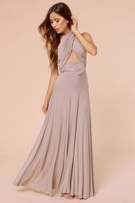 Tricks Of The Trade Taupe Maxi Dress.multi-way dress that comes is all different, pretty colors (although I love this one) really cute and simple for bridesmaid dresses but allows them to be different too! Robe Swing, Swing Dress, Dress Skirt, Wrap Dress, Taupe Maxi Dress, Bridesmaid Dresses, Prom Dresses, Taupe Bridesmaid, Bridesmaids