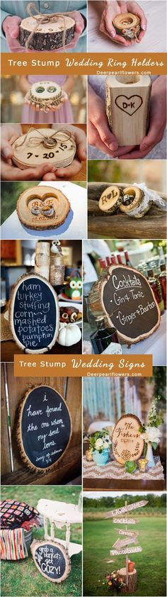 rustic country tree stump wedding decor ideas / http://www.deerpearlflowers.com/rustic-woodsy-wedding-trend-tree-stump/ #rustic #rusticwedding #countrywedding #weddingideas