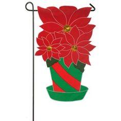 Christmas Poinsettia Garden Flag