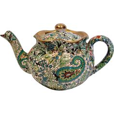 English Staffordshire Demitasse or Small Teapot Green Chintz w Gold c 1921