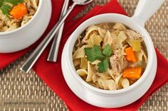 Hearty chicken noodle stew made in the slow cooker