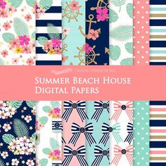 Summer Beach House / Nautical Digital Paper Pack  Instant