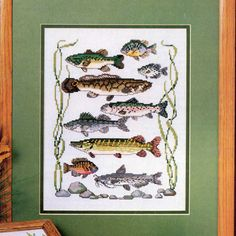 Got a fisherman in your family? Make them a lovely gift with this Fish Cross stitch pattern. And a few more patterns for yourself! - Cross stitcher gift, http://etsy.me/2E4nYnB #crossstitch #crossstitchpattern #fishing #fishcrossstitch