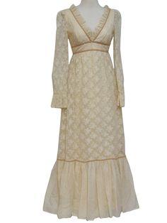 70s -Candi Jones- Womens cream and tan nylon lined floor length victorian style prairie dress