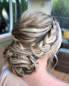 Braided crown with swept back updo bridal hairstyles,wedding hairstyles ,braided updo wedding hairstyles #weddinghairstyles