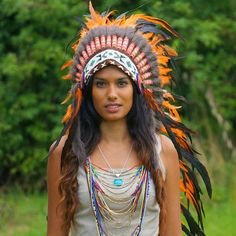 Orange Indian Headdress - 95cm – Indian Headdress - Novum Crafts