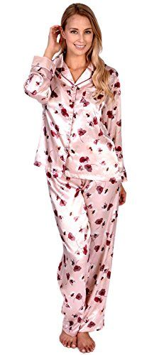 Patricia Womens Satin Floral Print Long Sleeve Top and Pant 2 Piece Pajama Set Lavender XL >>> Read more  at the image link.Note:It is affiliate link to Amazon.