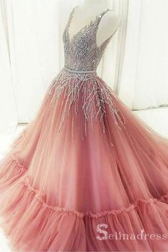 Elegant Prom Dresses, Unique A-Line V-Neck Pink Tulle Long Prom/Evening Dress with Beading Shop for La Femme prom dresses. Elegant long designer gowns, sexy cocktail dresses, short semi-formal dresses, and party dresses. V Neck Prom Dresses, Elegant Prom Dresses, Pink Prom Dresses, Ball Gowns Prom, Homecoming Dresses, Pink Dress, Beautiful Dresses, Formal Dresses, Formal Prom