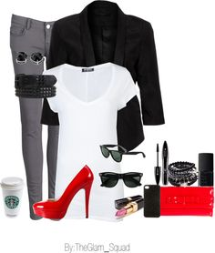 """""""Grey Skinny Jeans Red heels"""" by theglamsquad21 on Polyvore"""