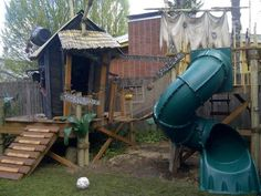 Pirate Hideout and Play Tower by TinyTownStudios on Etsy Outside Playhouse, Build A Playhouse, Playhouse Outdoor, Outdoor Play, Outdoor Decor, Playhouse Ideas, Outdoor Areas, Outdoor Living, Backyard Trampoline