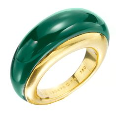 VAN CLEEF & ARPELS A Chrysoprase and Gold Band Ring | From a unique collection of vintage band rings at http://www.1stdibs.com/jewelry/rings/band-rings/