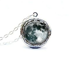 Full Moon Locket Necklace Petitie Silver Glass Dome Handcrafted Jewelry. $24.00, via Etsy.