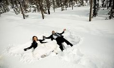Build a snowman, have a snowball fight and make your own snow angels as newlyweds!