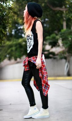 Rock design tank top, checked shirt, skinny jeans, converse and slouchy beanie.
