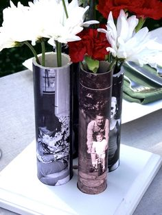 DIY Vase From PVC Pipe. You could use family photos for an anniversary, baby pics from mom and dad to be for a baby shower, or engagement photos for a weddin. Enlarge them to fit, and attatch with mod podge.
