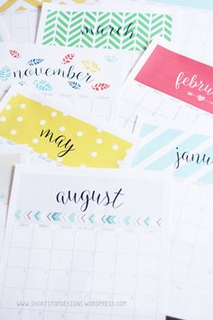 Free printable Calendar that I am using for my annual planner - love it! Free Printable Calendar, Printable Planner, Free Printables, Planner Bullet Journal, 2016 Calendar, Calendars 2016, Monthly Calendars, Paper Crafts, Diy Crafts
