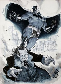 Batman vs. Penguin by Stefano Caselli