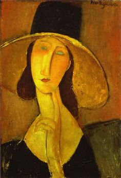 Modigliani, Amedeo (1884-1920) - 1917 Jeanne Hebuterne in Large Hat (Private Collection)  for more Amedeo Modigliani oil paintings please visit http://www.painting-in-oil.com/artworks-Modigliani-Amedeo.html