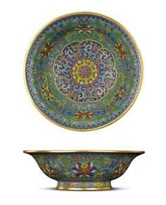 A FINE IMPERIAL SMALL CLOISONNE ENAMEL 'LOTUS' DISH QIANLONG INCISED SIX-CHARACTER MARK WITHIN DOUBLE RECTANGLES AND OF THE PERIOD (1736-1795)