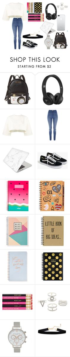 """""""Back to School"""" by jskemp ❤ liked on Polyvore featuring Betsey Johnson, Beats by Dr. Dre, Puma, Jane Norman, Recover, J.Crew, Fringe, Tri-coastal Design, Charlotte Russe and Olivia Burton"""