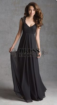 2015 elegant black chiffon and lace long bridesmaid dress, evening dress, prom dress, ball gown, formal dress #wedding #formal #promdress