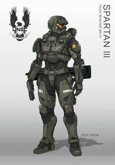 Spartan III Faux Mjornir - Halo Fanart, Poji Chow on ArtStation at https://www.artstation.com/artwork/gLoZe