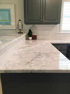 Grey Kitchen Cabinets | Quartzite Countertops | White Subway Tile  Backsplash #CottonwoodInteriorDesigns