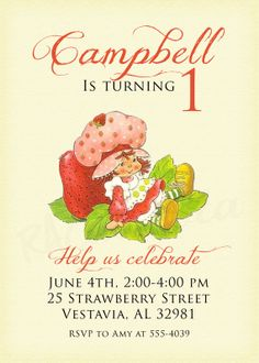 Vintage strawberry shortcake birthday party invitation printable vintage strawberry shortcake birthday invitation or by rachellola filmwisefo Gallery