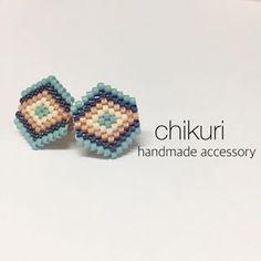 六角形ピアス。シンプルですが存在感あります。 #chikuri #ハンドメイドアクセサリー #ハンドメイド #デリカビーズ #デリカビーズピアス #デリカビーズアクセサリー #ハンドメイドイヤリング #ネイティブ柄 #minne #minneで販売中