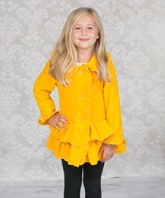 Love this Yellow Chelsea Fleece Coat - Infant, Toddler & Girls by Jelly the Pug on #zulily! #zulilyfinds