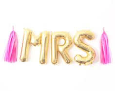 Mrs Balloon Garland with Tassels Kit - Bachelorette Party Bride Bridal Shower - Gold Letter Balloons Banner Decoration - Ideas by PaperboyParty on Etsy https://www.etsy.com/listing/243756323/mrs-balloon-garland-with-tassels-kit