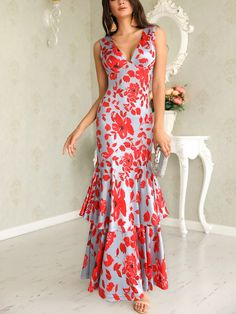 Floral Plunge Ruffles Layered Hem Evening Dress Women's Best Online Shopping - Offering Huge Discounts on Dresses, Lingerie , Jumpsuits , Swimwear, Tops and More. Trend Fashion, Fashion Outfits, Womens Fashion, Fashion Fashion, Fashion Stores, Fashion Brands, Women's Evening Dresses, Maxi Dresses, Luxury Dress