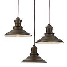 Allen + Roth Hainsbrook 18.3-In Aged Bronze Rustic Multi-Light Cone Pendant B10009