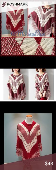 SALE ☃️Beautiful Red & White Sleeved Poncho Very pretty. Red & white fringed poncho. Note the poncho on my mannequin is truer to shade of red. (Not the color on model). Has sleeves for some added warmth. 100% acrylic. Heavy knit. OSFM. Approximately 25 inches long at front (not including fringe), shorter on sides. Price is firm. 20% off 2 or more items from my closet. Feel free to ask questions 💗 Accessories Scarves & Wraps