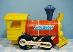 Vintage Fisher Price toy 1964 Toot Toot engine 643 oude trein train locomotief