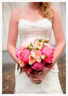Pink Peony & Rose Bouquet -- yes!! View entire slideshow on Style Me Pretty here: http://www.StyleMePretty.com/collection/572  Source: www.100layercake.com/blog/2012/08/20/bay-area-wedding-kendel-bri    Photography: JesseLeake.com