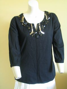 Womens Tunic Blouse Top Beads Embellishments Black Size XL CHELSEA and THEODORE #ChelseaandTheodore #Tunic #Versatile