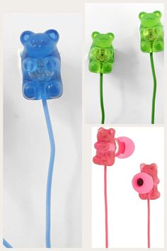 "Enjoy your tunes with these ""Sweet"" gummy bear earphones. Gummy Bear Candy, Gummy Bears, Kawaii Stuff, Indie Kids, Phone Covers, Badges, Raspberry, Jewels, Sweet"