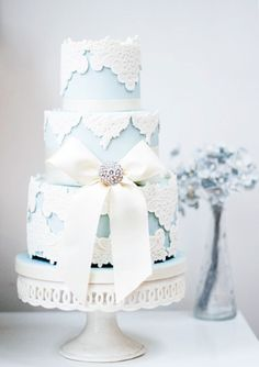 Blue Vintage Lace Wedding Cake -- with ivory instead of white lace?