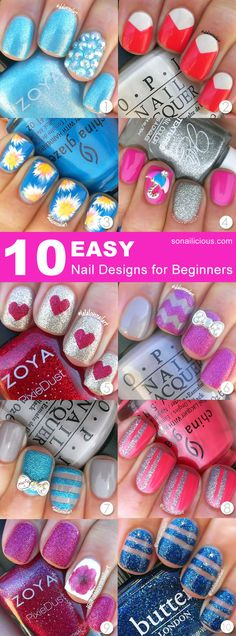 10 Easy Nail Designs For Beginners: http://sonailicious.com/10-easy-nail-designs-beginners/