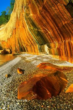 Mineral Stained Cliff  This image was captured at Pictured Rocks National Lakeshore in Michigan on a summer evening.