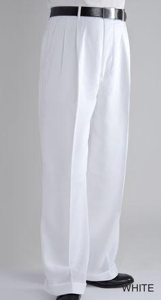 Fratello Mens Wide Leg Dress Pants White DP-106