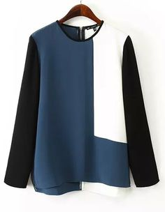 Color Block Loose Blouse $14.17 on ROMWE