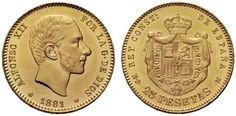 Spain Alfonso XII 25 Pesetas 1881 Madrid Mint My Coll.