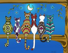 "Pop Art Zentangle Cats Lovers Moon Color"" Posters by wildwildwest ..."